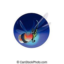 kék, furcsa, nagy, vektor, digitális, karikatúra