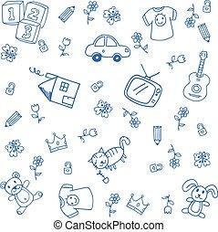kék, furcsa, rajzol, szórakozottan firkálgat
