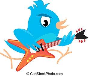 kék, gitár játék, madár, kő