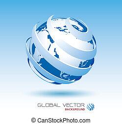 kék, globális, vektor, háttér