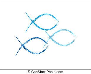 kék, grunge, fish, keresztény, jelkép