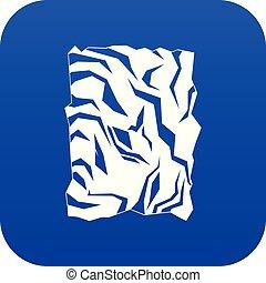 kék, gyűrött újság, ikon, digitális