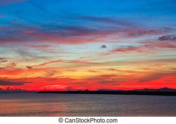 kék, háttér, elhomályosul, naplemente ég