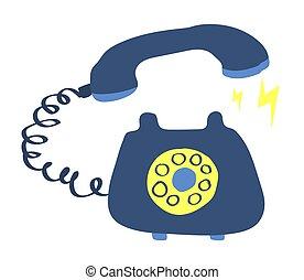 kék, háttér., fehér, telefon, retro