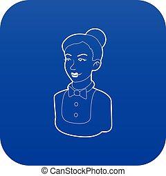 kék, hajadon, vektor, ikon