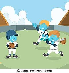 kék, hajlandó, kiképez, baseball sportcsapat