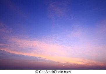 kék, hajnalodik, ég