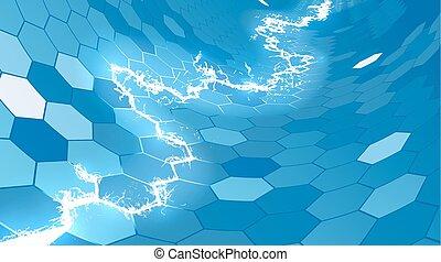 kék, hatszög, elektromos, háttér, átlyuggatott díszítés