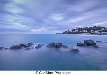 kék, hintáztatni, olaszország, castiglioncello, óceán, sötét, twilight.