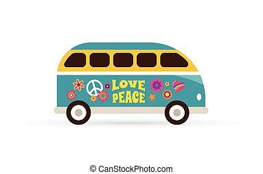 kék, hippi, furgon, béke, -, cseh, szeret