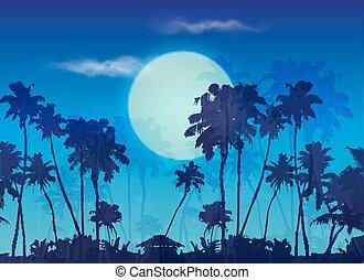 kék, horgonykapák, nagy, körvonal, hold, sötét háttér, félhomály, táj