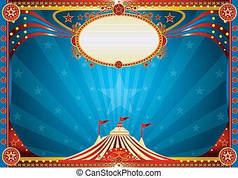 kék, horizontális, cirkusz, háttér