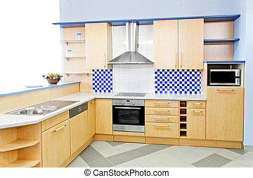 kék, horizontális, konyha