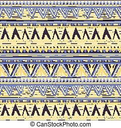 kék, ibolya, pattern., seamless, sárga, kötött, vektor, háttér, etnikai, geometriai, horizontális