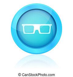 kék, ikon, fényes, visszaverődés, szemüveg