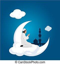 kék, imádkozás, felhő, háttér, ember