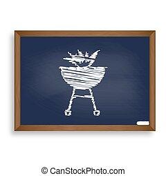 kék, izbogis, elbocsát, cégtábla., kréta kosztol, nyugat, grillsütő, fehér, ikon