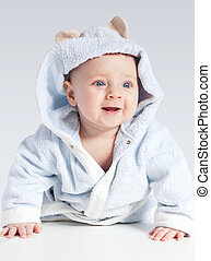 kék, jókedvű, fürdőköpeny, portré, gyermek