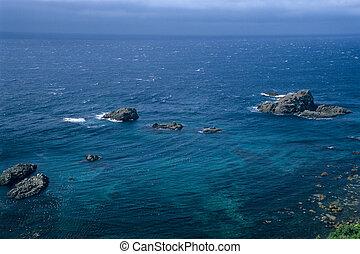 kék, japán, mély tenger