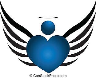 kék, jel, angyal