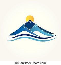 kék, jel, hegyek