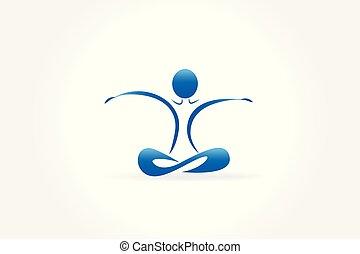 kék, jel, yoga bábu