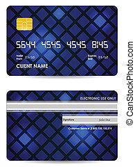 kék, kártya, hát, hitel, vektor, elülső, különleges, kilátás