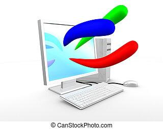 kék, kép, szín, számítógép, zöld, alapvető, 3, piros