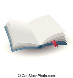 kék, könyvjelző, ábra, gyakorlatias, vektor, üres, ikon, nyitott könyv, piros, árnyék