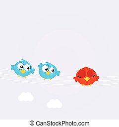 kék, különböző, madarak, egy, egyenes, piros