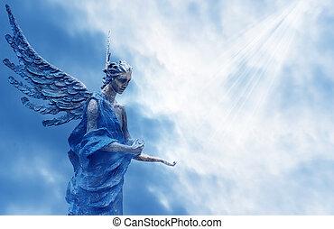 kék, küllők, angyal, fény, felett, ég, nap