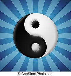 kék, küllők, jelkép, yin yang, háttér