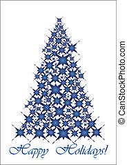kék, karácsony, tree-, csillaggal díszít