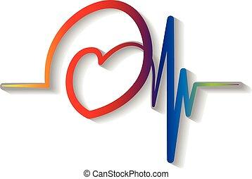 kék, kardiogram, jel, vektor, piros