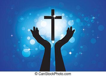 kék, karikák, fogalom, keresztény, hűséges, jámbor, jézus, -, kereszt, háttér, fiú, személy, grafikus, vektor, buzgó, csillaggal díszít, imádkozás, méltóság, vagy, lord(christ)