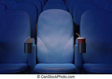 kék, karosszék, mozi