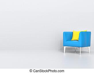 kék, karosszék, vánkos, sárga