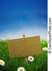kék, kartonpapír, kert, természet, néhány, ég, aláír, fű, háttér, zöld, katicabogár, menstruáció, óriási sajtkorongok, üres