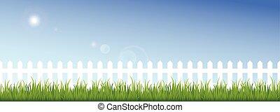 kék, kerítés, tiszta égbolt, zöld háttér, fehér, fű