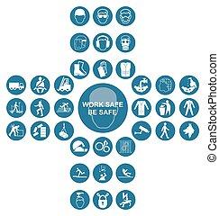 kék, kereszt alakú, gyűjtés, egészség, biztonság, ikon