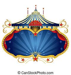 kék, keret, cirkusz, varázslatos