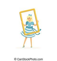 kék, keret, színésznő, külső through, retro, ruha