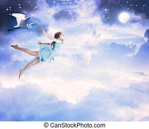 kék, kevés, repülés, ég, éjszaka lány
