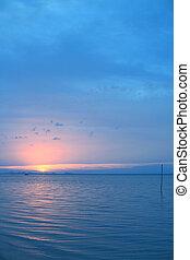 kék, kilátás a tengerre, ég, tenger, szürkület