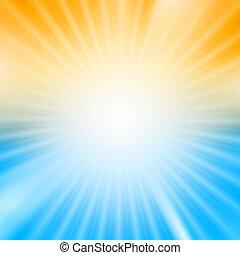 kék, kitörés, fény, felett, sárga háttér