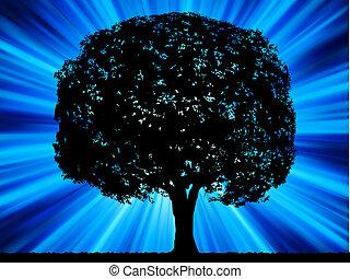 kék, kitörés, fa, eps, háttér., 8