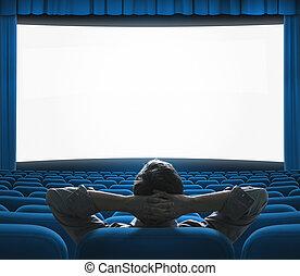 kék, kizárólagos, művészet, mozi, nagy, concept., screen., nagyon fontos személyiség, épület, film, auditorium., sajtóbemutató