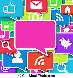 kék, kommunikáció, felett, háttér, ikonok
