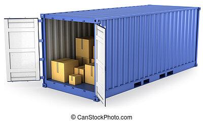 kék, konténer, kinyitott, belső, dobozok, kartondoboz