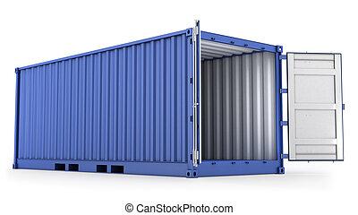 kék, konténer, kinyitott, rakomány